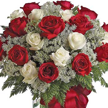 Send lavish white & red Christmas roses delivered in a glass vase