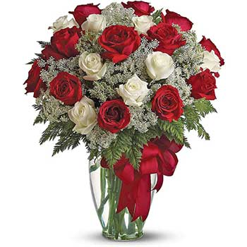Send lavish white & red roses delivered in a glass vase