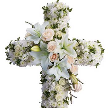 Buy white christian casket cross ANZAC funeral flowers