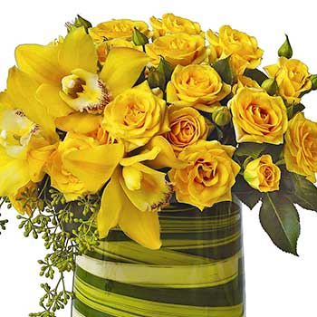 Send yellow roses & orchids in a flax lined vase