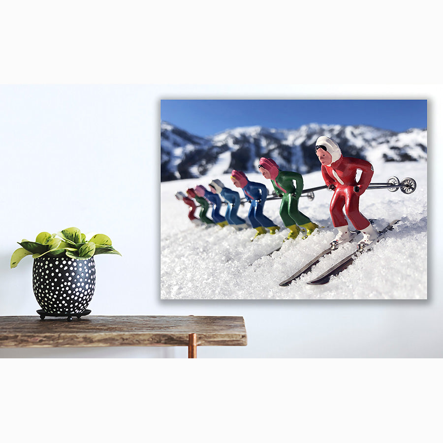 Vintage toy skier photos by Hooey Mountain shown in mountain home
