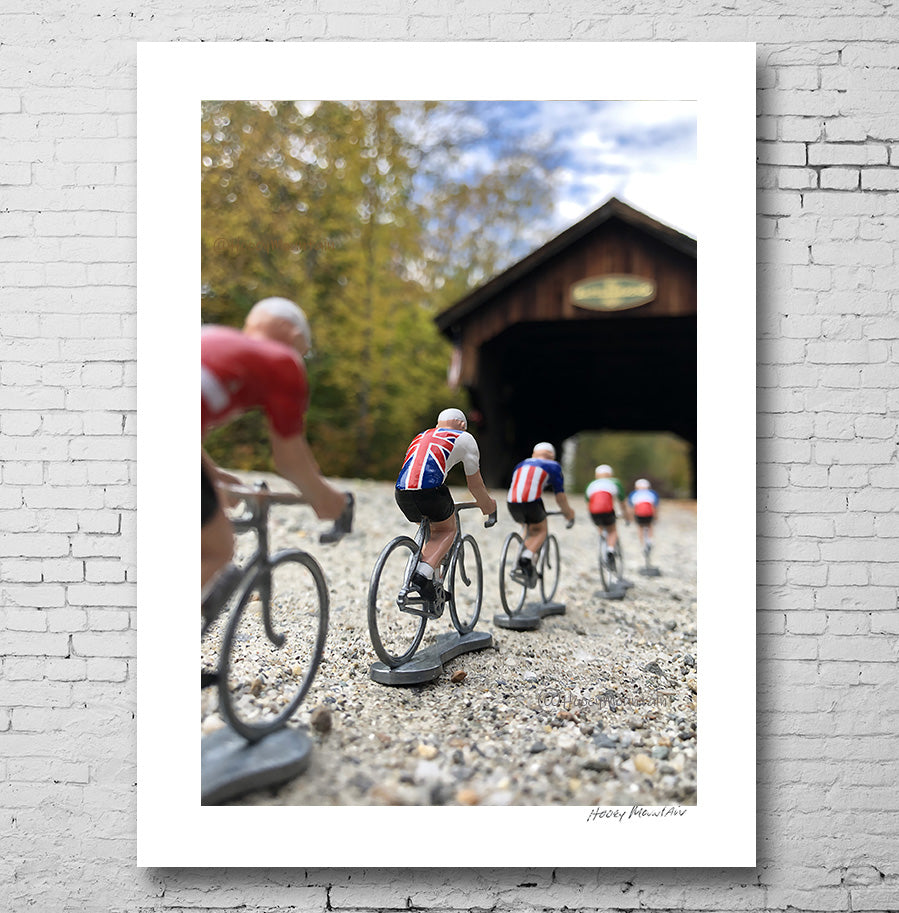 Toy Bikers crossing a covered bridge by Hooey Mountain