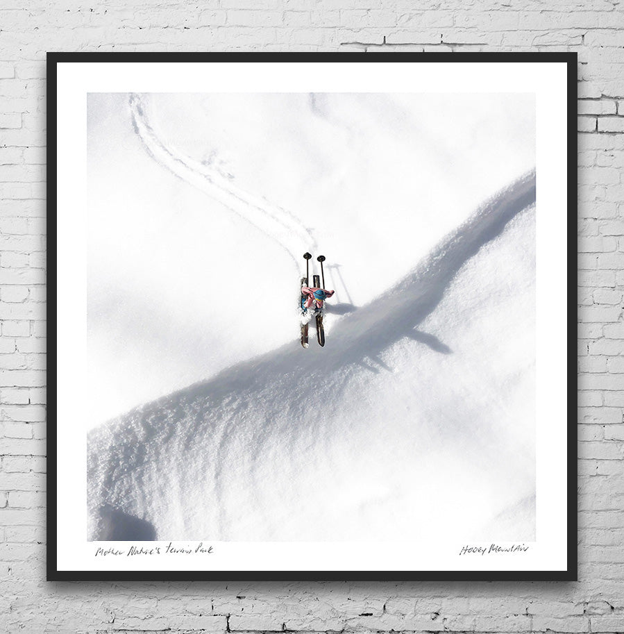 Pink vintage toy skiers photo gift by Hooey Mountain