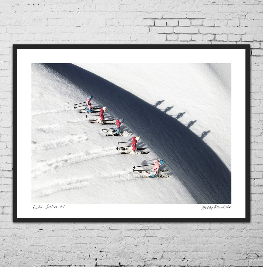 Pink Vintage toy skiers and their shadows. Framed hoto by Hooey Mountain