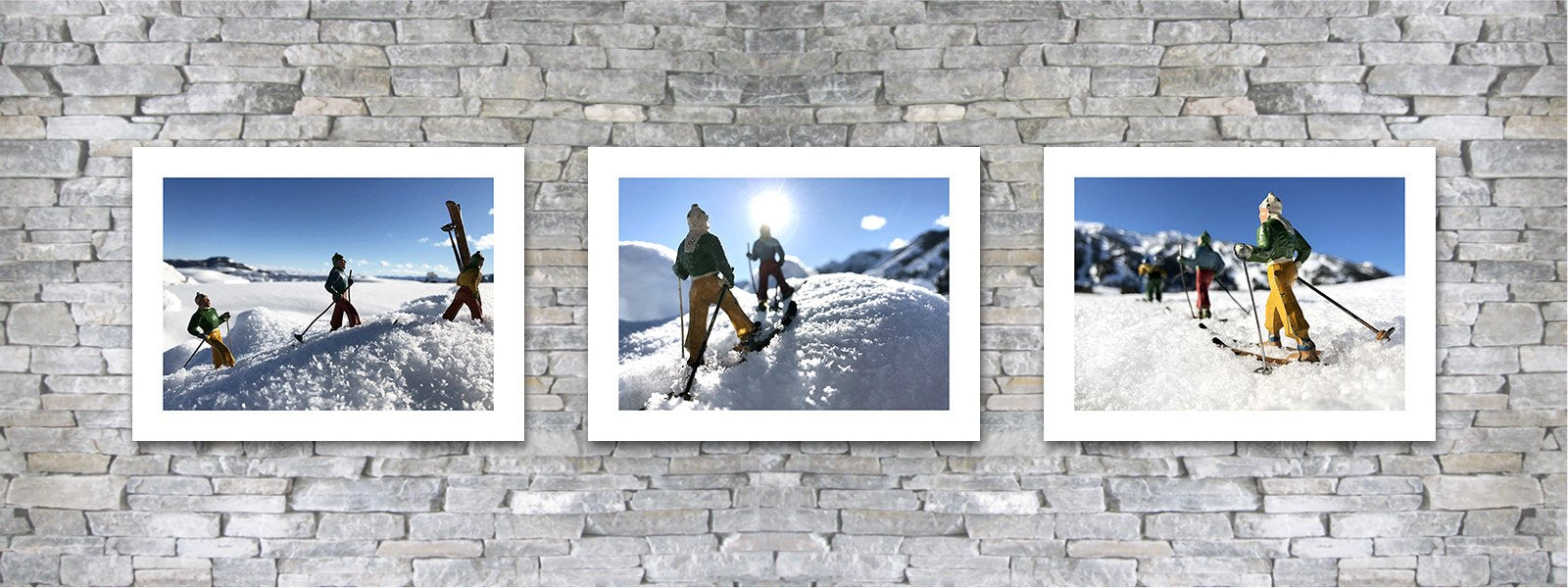Vintage toy skier photo pairings by Hooey Mountain