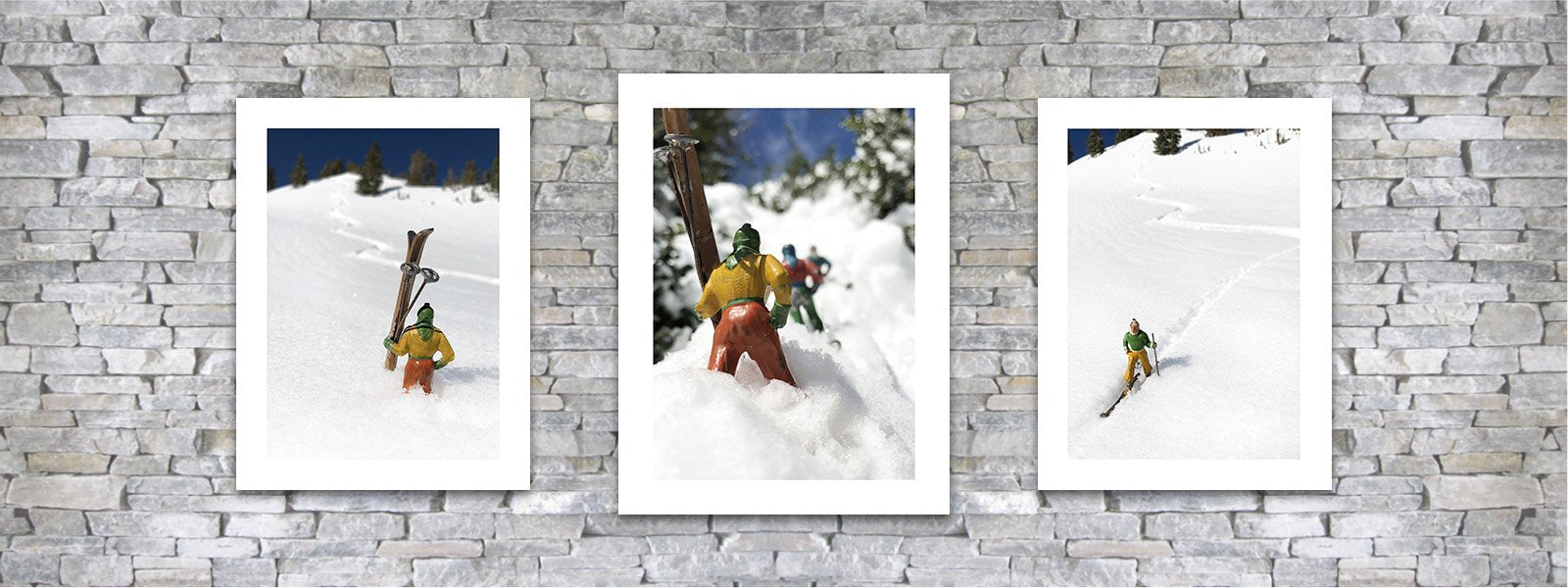 Vintage toy skier pairings by Hooey Mountain