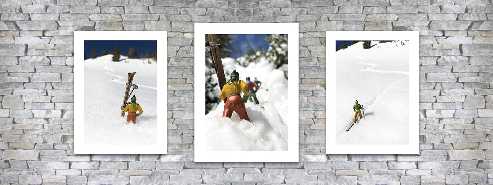 Vintage toy skiers photo pairings by Hooey Mountain
