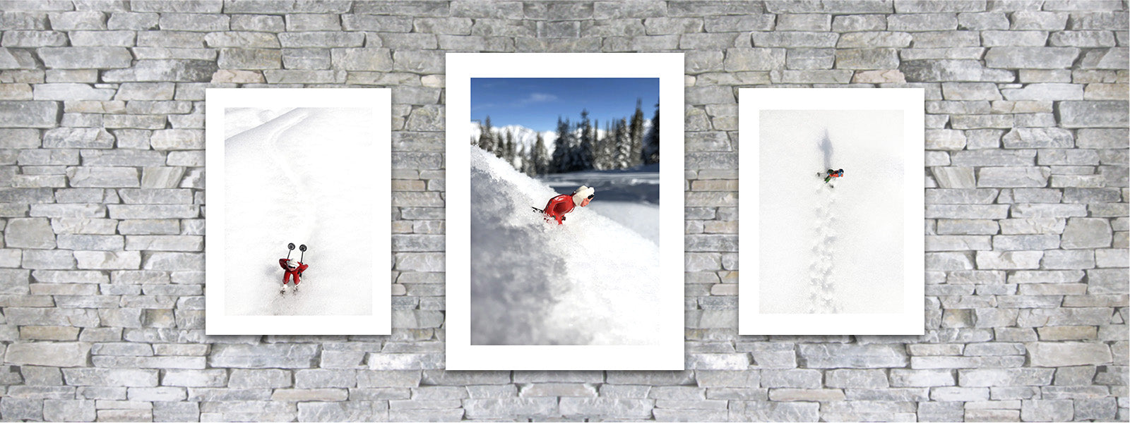 vintage toy skiers photo pairing by Hooey Mountain