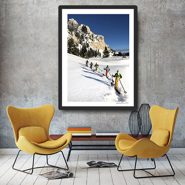 5 vintage toy skiers in Backcountry by yellow chair by Hooey Mountain
