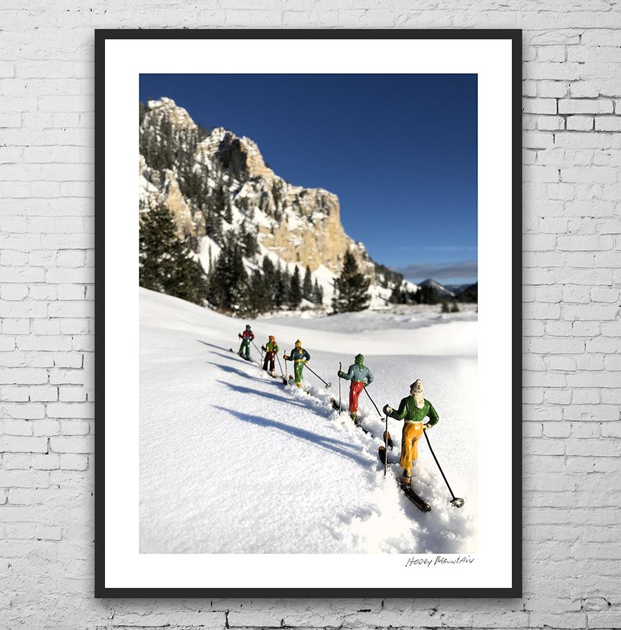 Vintage Toy Skiers in Backcountry photo by Hooey Mountain