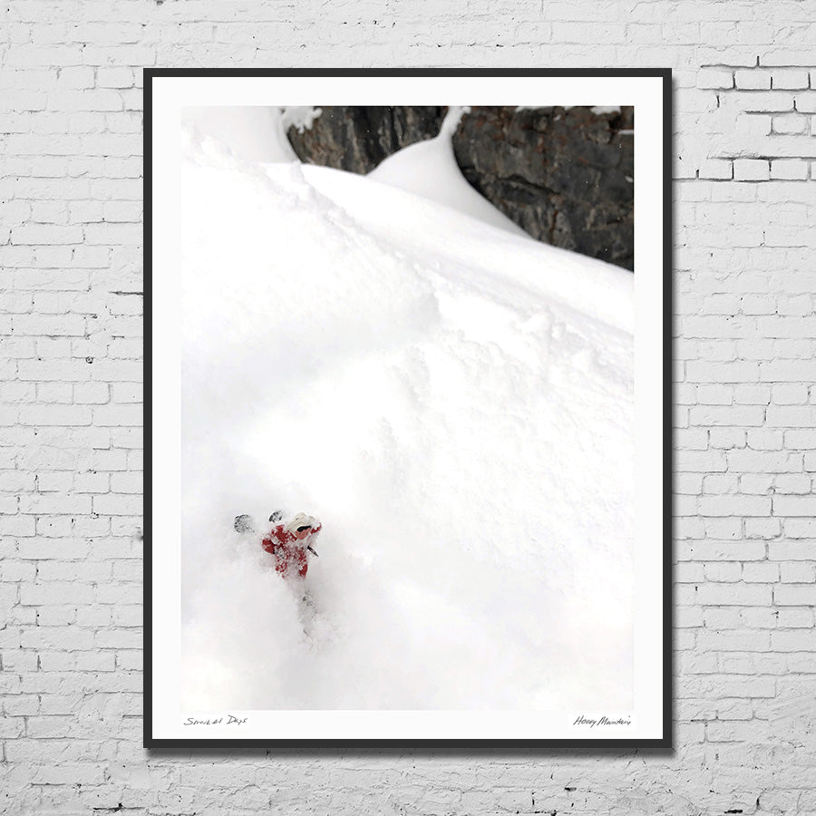 Framed photo of vintage skier in deep powder by Hooey Mountain