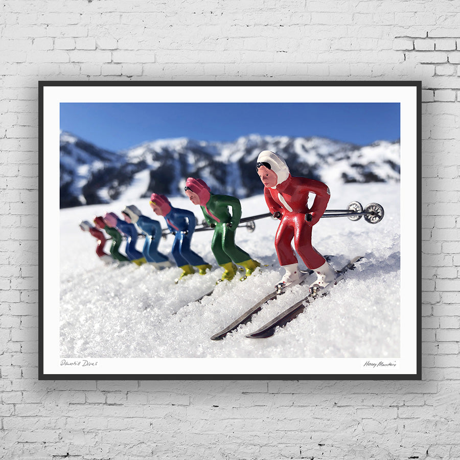 Vintage toy women skiers framed photograph by Hooey Mountain