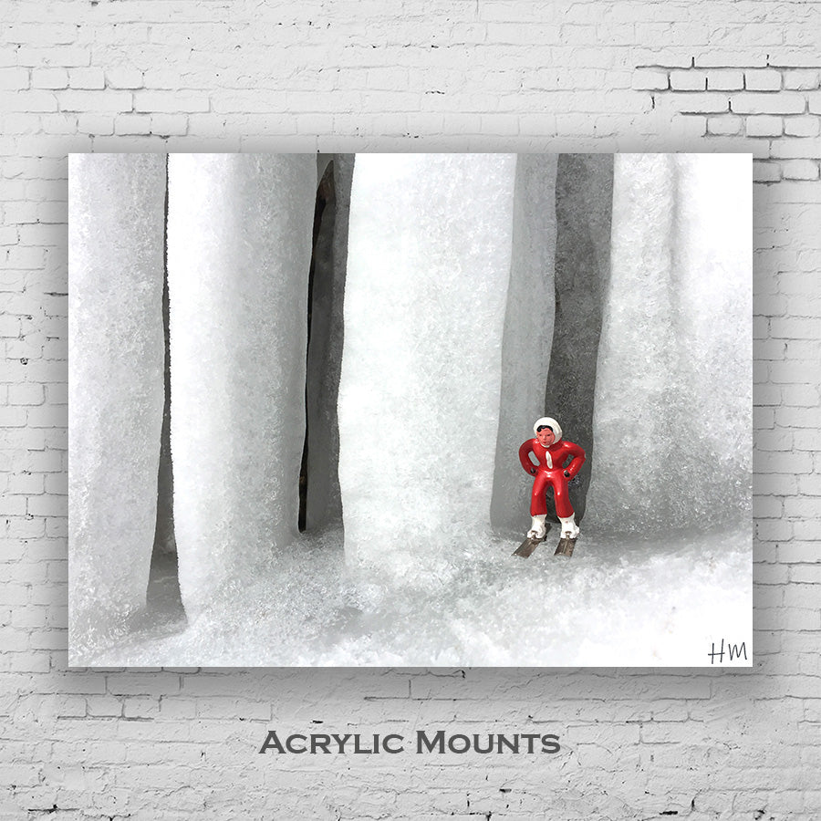 Photo as acrylic mount of vintage skier by large icicles by Hooey Mountain
