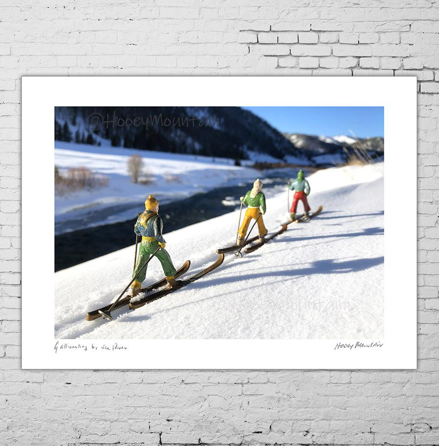 Vintage Toy SKiers by River photo gift by Hooey Mountain
