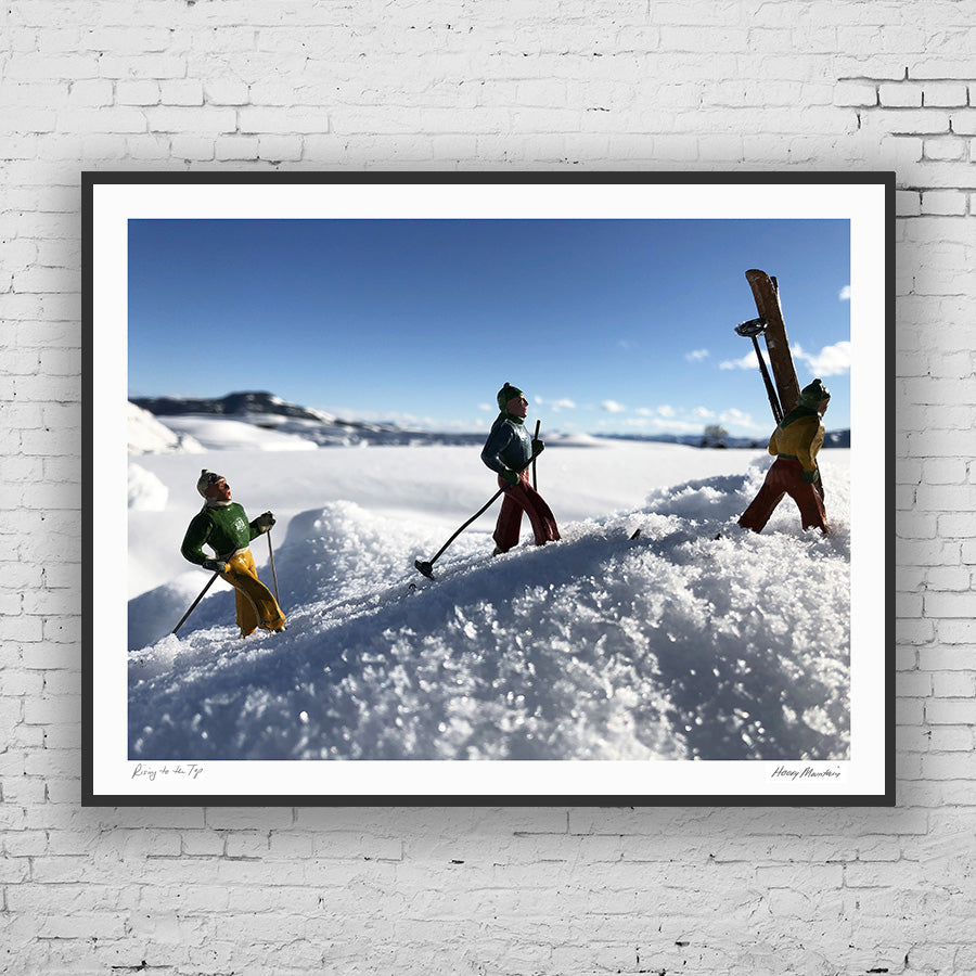 Photo of vintage toy backcountry skiers by Hooey Mountain