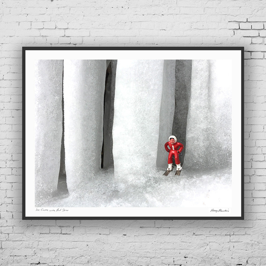 Framed photo of vintage skier by large icicles by Hooey Mountain