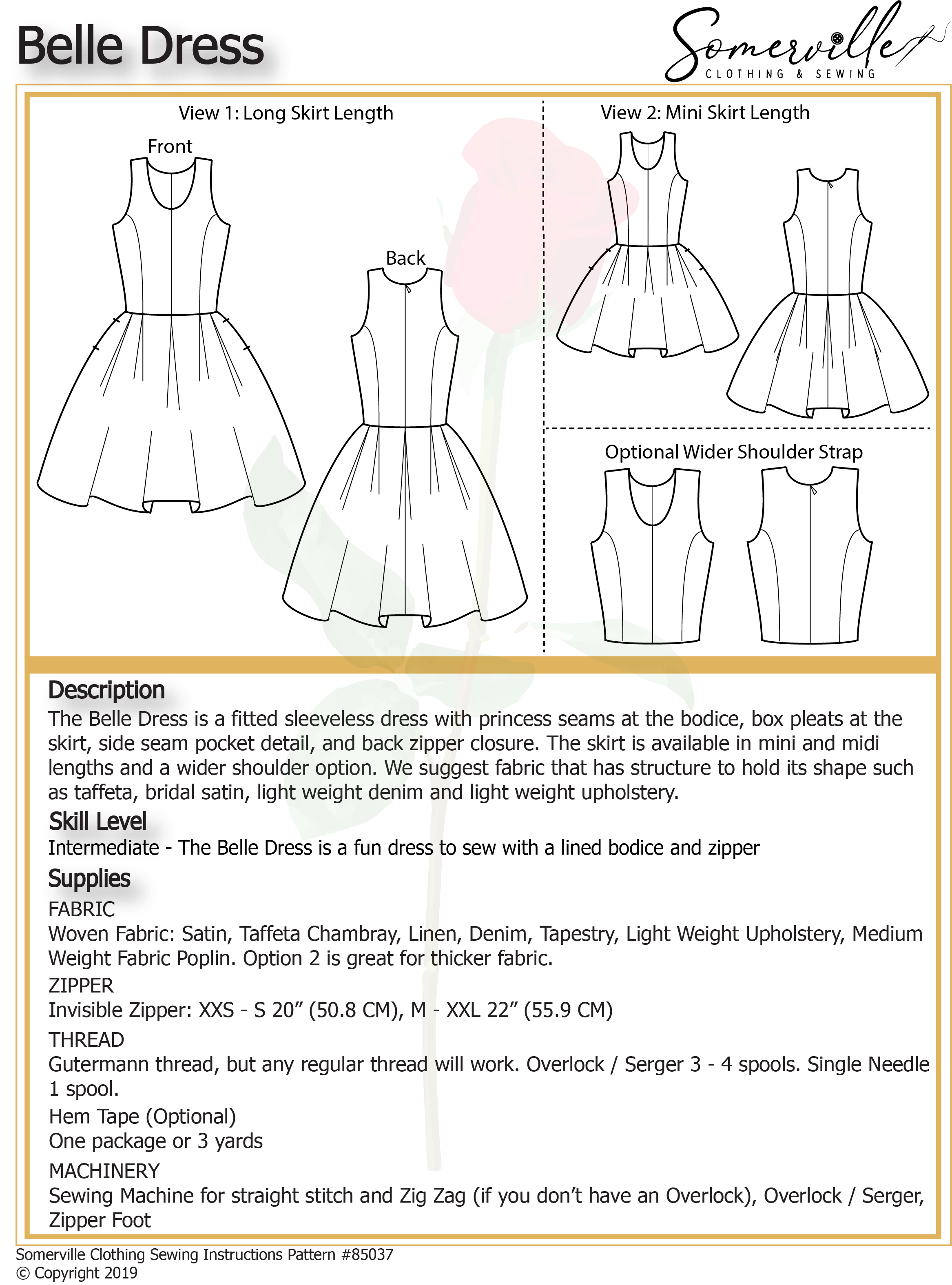 Bell Dress Pattern - PDF Digital Download