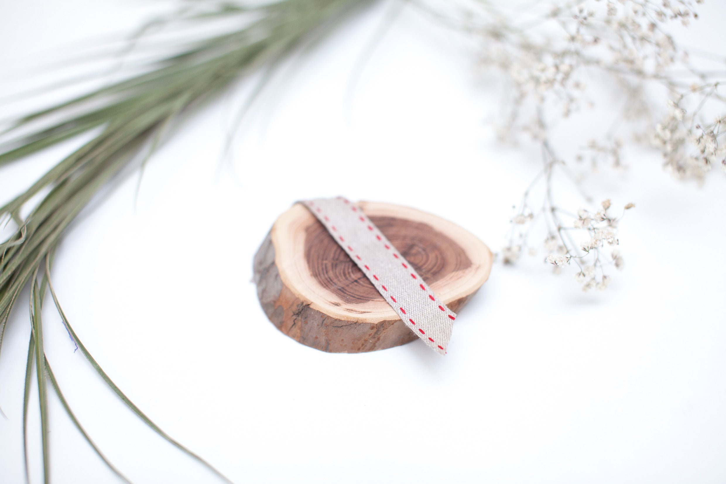 Natural & Double Red Stitch Ribbon - 1/2""