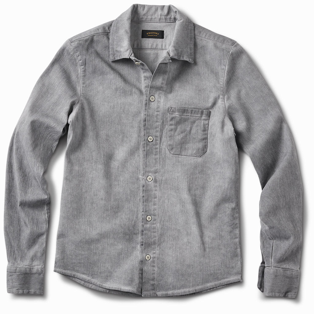 Gas Station Twill Button Down Oil Dyed Grey