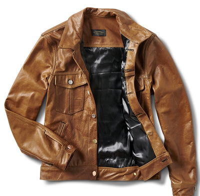 Aged Italian Handmade leather Trucker Jacket