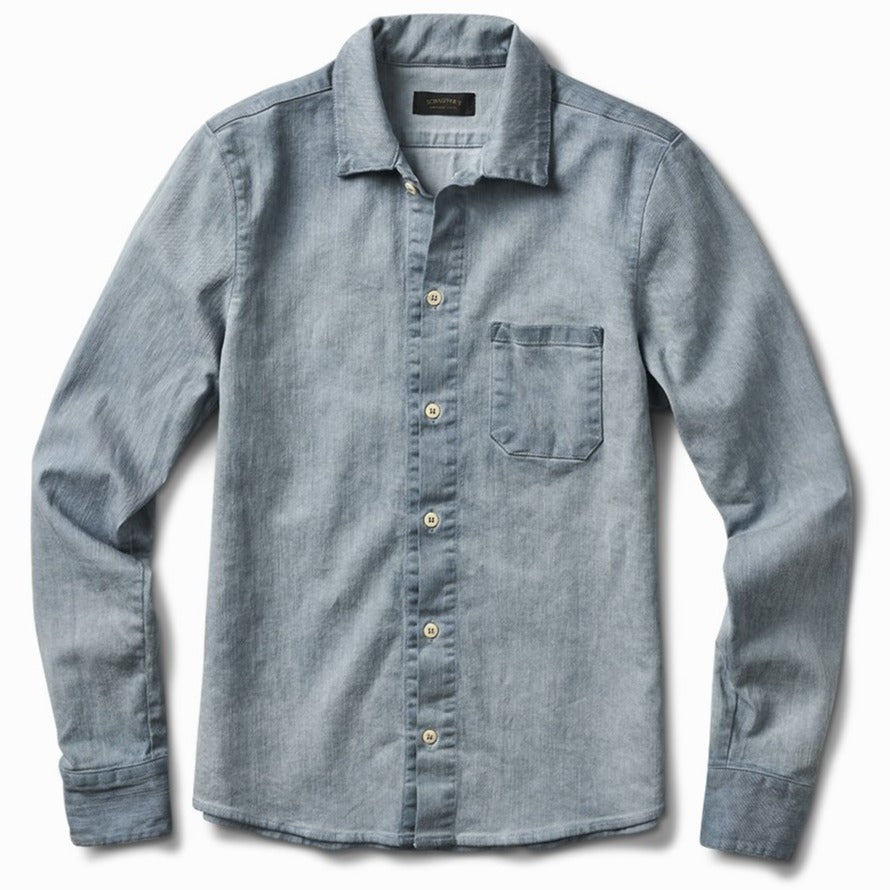 Gas Station Twill Button Down Oil Dyed Indigo