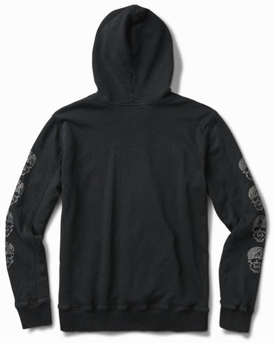 17oz Aged Black French Terry Arm Skull Hoodie