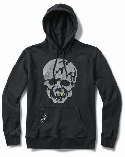 17oz Worn Black French Terry Skull Tooth Hoodie