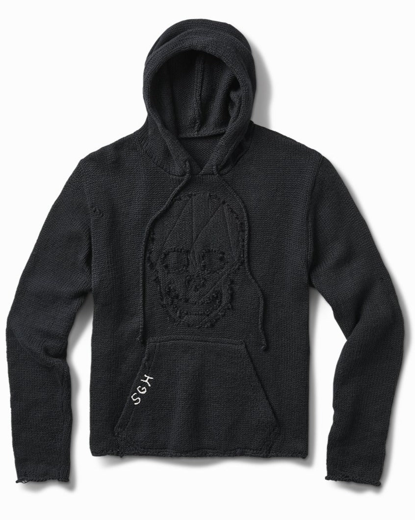midnight twisted knit skull hood sweater
