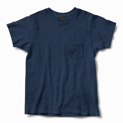 Hand Aged & Distressed Pocket Tee - Indigo