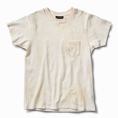 Hand Aged & Distressed Pocket Tee - Off White