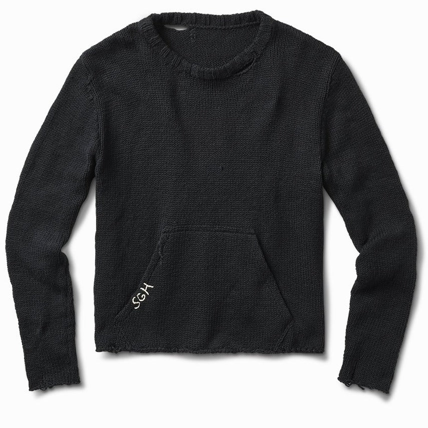 midnight twisted knit front pocket sweater