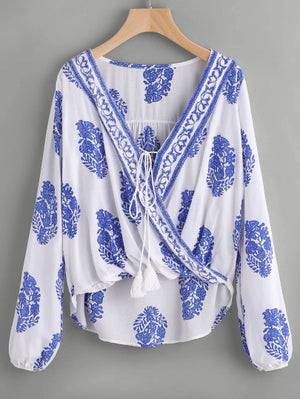 Printed Lace Up Front Warp Top
