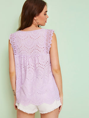 Eyelet Embroidery Lace Panel Blouse