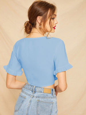 Knot Front Frill Cuff Crop Top