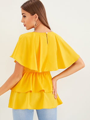Solid Layered Ruffle Keyhole Back Top