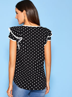 Polka Dot Contrast Piping Trim Knot Blouse