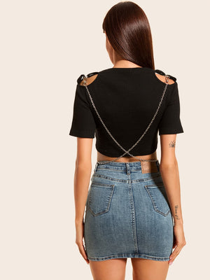 Solid Cut Out Ribbed Crop Top
