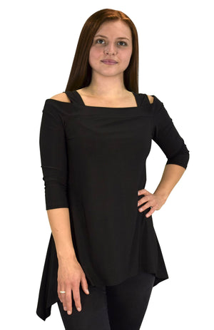 Womens Cut Out Shoulder 3/4 Sleeve Loose