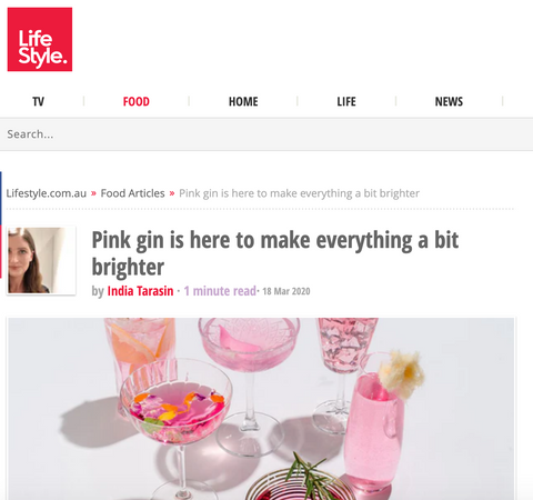 A snapshot of Lifestyle Food's review of BABY Pink Gin. Full review can be found at babypinkgin.com