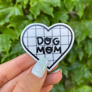 Dog Mom Sticker - B&W