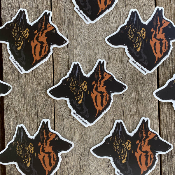 Long Haired Belgian Malinois + Dutch Shepherd Duo Sticker