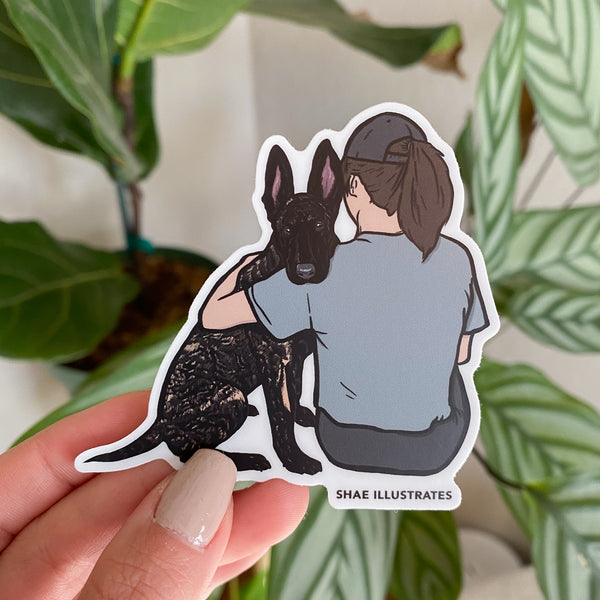 Dutchie Female Dog Handler (Without Leaf Design) Sticker