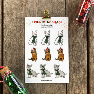 Merry Catmus Sticker Sheet | Vinyl