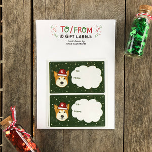 Shiba Inu Christmas Gift Labels (10 stickers)