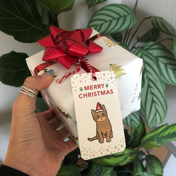 Christmas Gift Tags - Cat (5 tags)