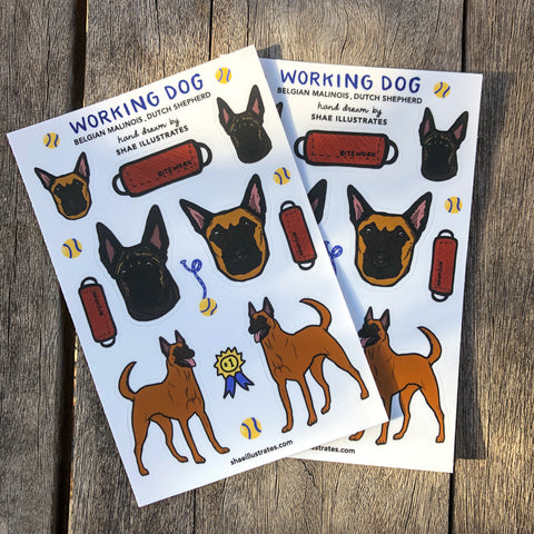 Working Dog sticker sheet