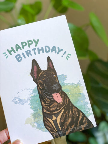 Dutch Shepherd Happy Birthday Card
