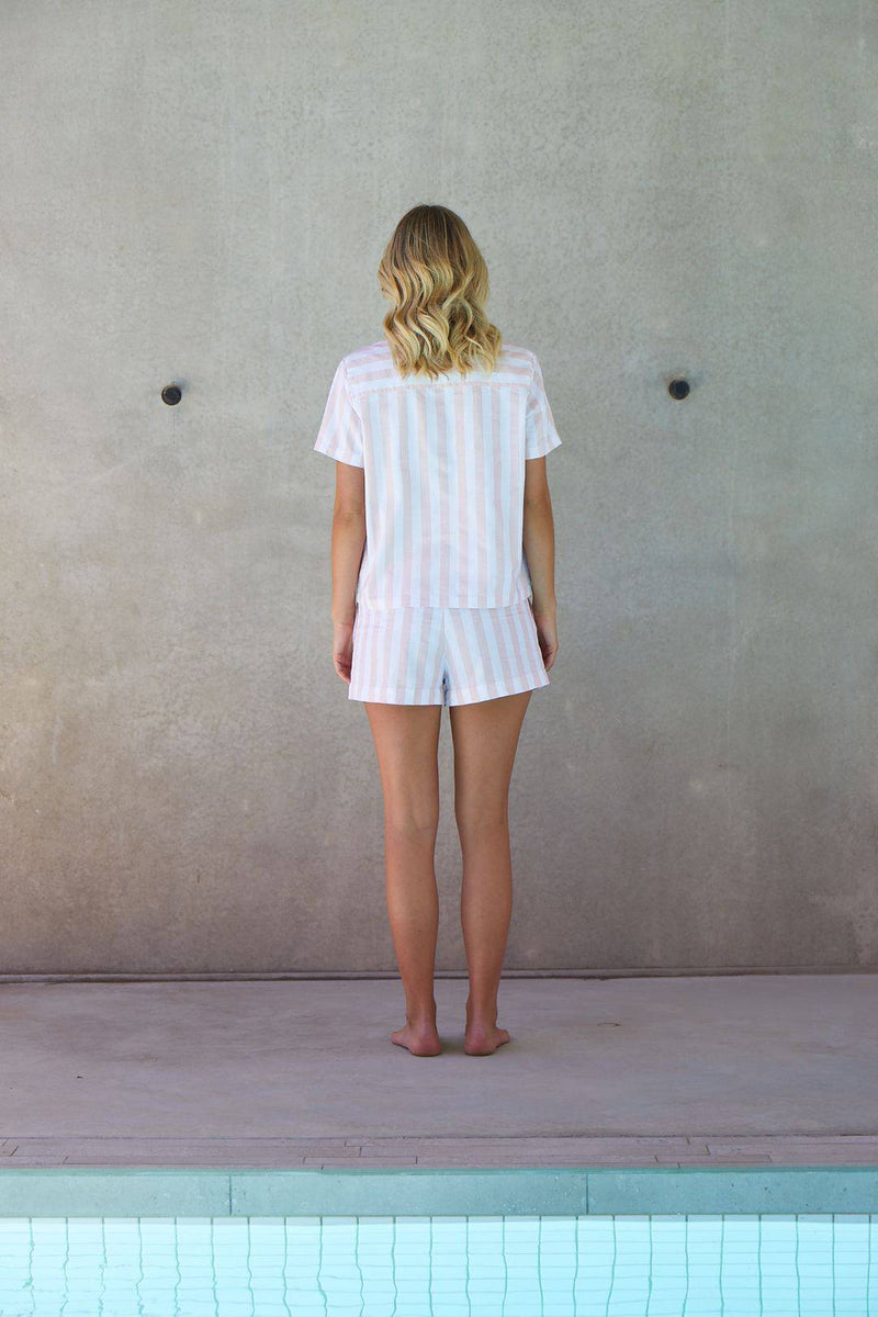 Resort Stripe Short Set | Rose - Souszy - MAEVA