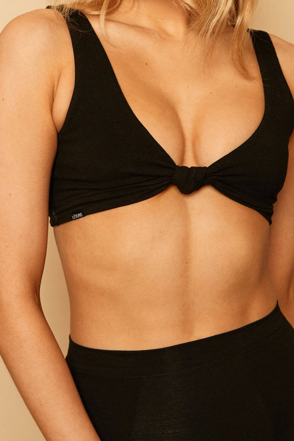 Mila Organic Cotton Triangle Bralette | Black