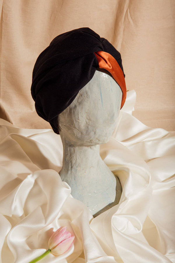 Signature Silk Hair Turban | Orange